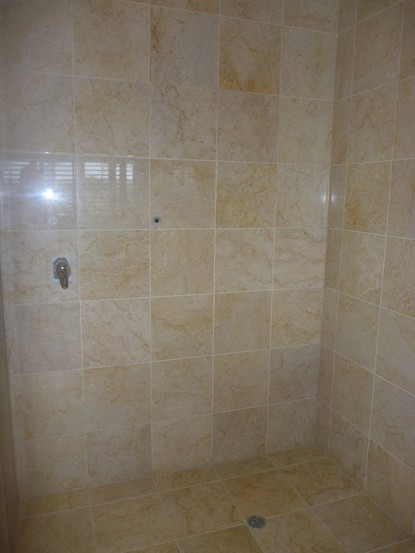 Marble, limestone, travertine shower walls and floor polishing, sealing, cleaning and mould removal Brisbane, Gold Coast and Sunshine Coast
